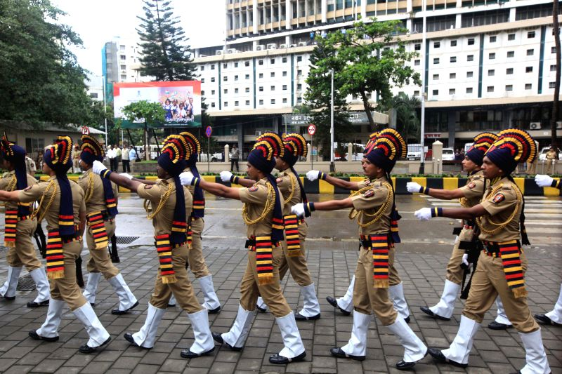 Police men participate in Independence Day in Mumbai, on Aug 15, 2015.