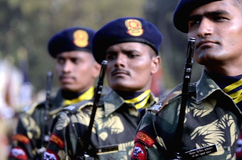 Police personnel during dress rehearsals for 54th Maharashtra Day celebrations, which is celebrated on 1st May every year; at Shivaji Park of Mumbai on April 29, 2014.