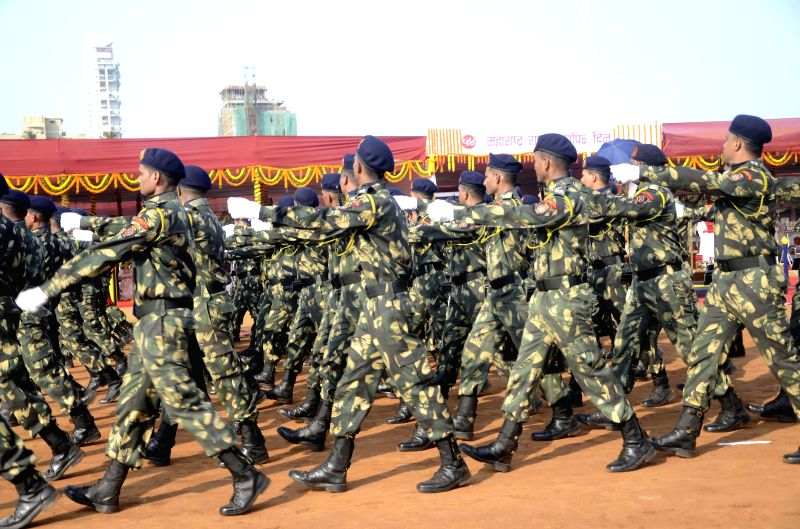 Police personnel during Maharshtra Day celebrations at Shivaji Park in Mumbai on May 1, 2014.