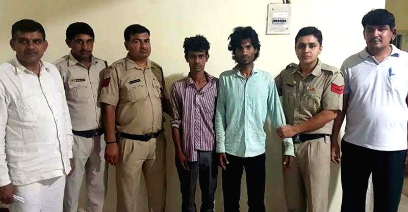 Police present before press two persons arrested in connection with Sonepat gangraape case on May 14, 2017.  A young woman from Haryana's Sonepat district was allegedly abducted, gang raped ...