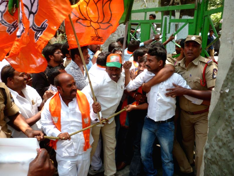 Police take way BJP workers protesting against the draft legislation that seeks to increase quota for the Muslims to 12 per cent in Hyderabad on April 17, 2017. The bill also has ...