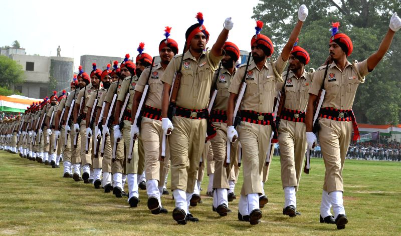 Policemen during 68th Independence Day Parade in Amritsar on Aug 15, 2014.