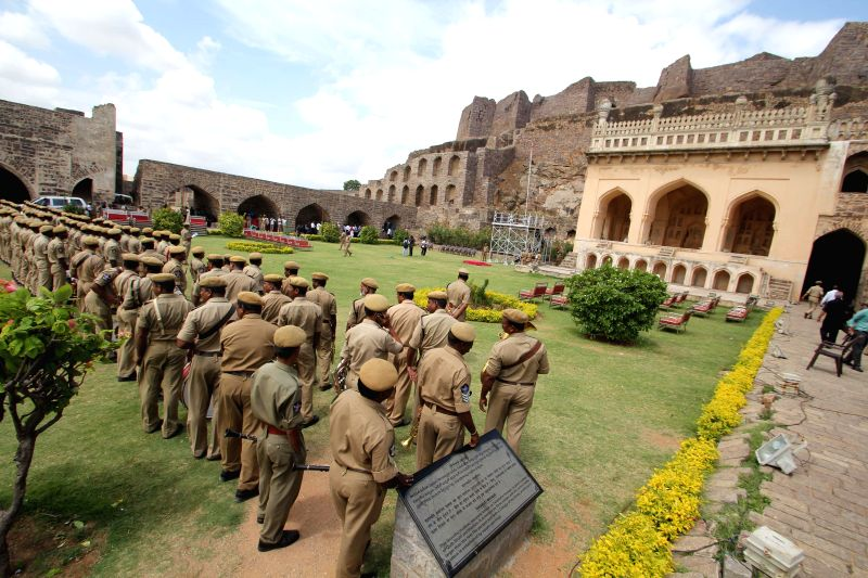 Policemen during rehearsals for Independence Day celebrations at Golkonda Fort ahead of Independence Day celebrations, some 11 km away from Hyderabad on Aug 12, 2014.