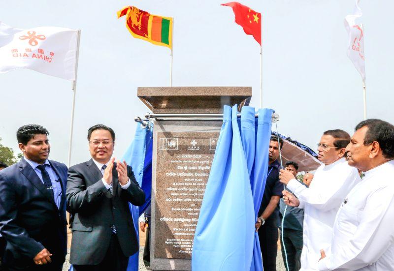 POLONNARUWA, July 21, 2018 - Sri Lankan President Maithripala Sirisena (2nd R), Health Minister Rajitha Senaratne (1st R) and Chinese Ambassador to Sri Lanka Cheng Xueyuan (2nd L) attend a ... - Rajitha Senaratne