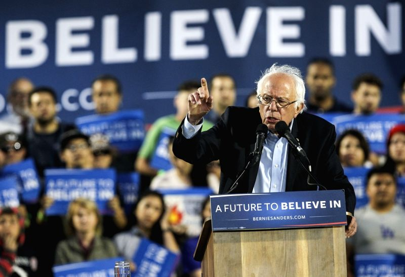 POMONA (UNITED STATES), May 27, 2016 U.S. Democratic presidential candidate Bernie Sanders speaks during a campaign rally in Pomona, U.S. state of California, May 26, 2016.