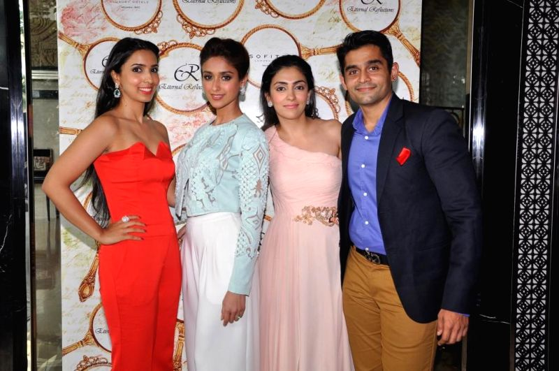 Pooja Vijan Gurnani Mahira & Vishal Mankani with Ileana D`Cruz during the High Tea Jewellery Preview in Mumbai on July 5, 2014.