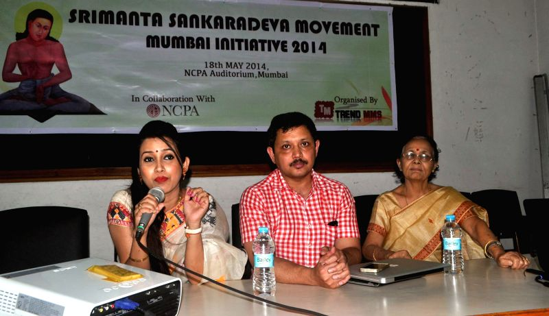 Popular Asamese film actress Barasha Rani Bisaya addressing a press conference at Guwahati Press Club on May 3, 2014, regarding the Srimanta Sankardeva Movement Mumbai Initiative 2014 to be organised