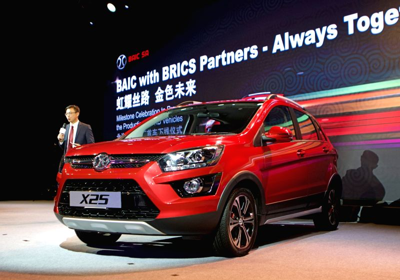 PORT ELIZABETH, July 26, 2018 - Photo taken on July 24, 2018 shows the ceremony for the first car off production line in Beijing Automotive Industry Corporation (BAIC) South African plant in Port ...