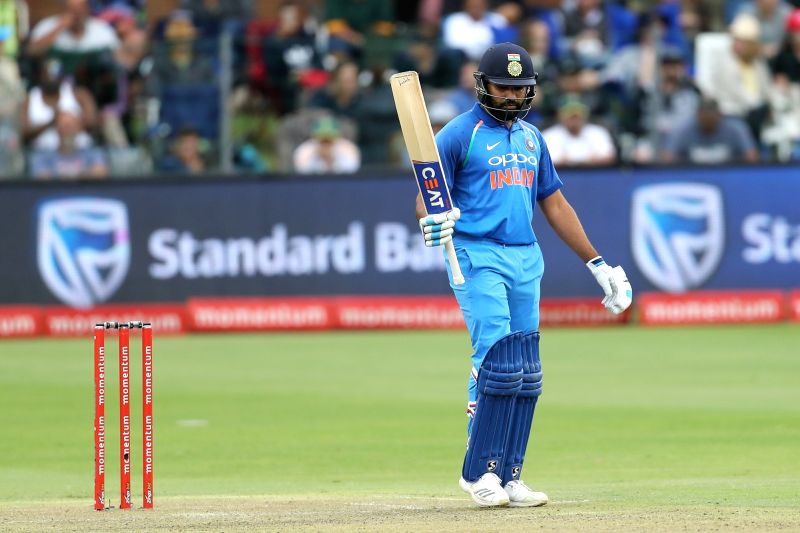 Port Elizabeth: Rohit Sharma of India celebrates his century during the 5th ODI between India and South Africa at the St George's Park Cricket Ground in Port Elizabeth, South Africa on Feb 13, 2018. - Rohit Sharma