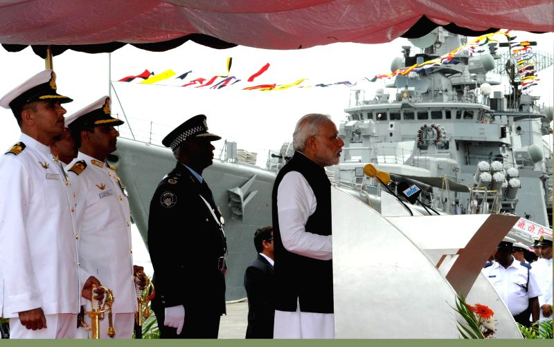 Port Louis: Prime Minister Narendra Modi addresses at the Joint Commissioning of Offshore Patrol Vessel (OPV) Barracuda, at the Port Louis Harbour, in Mauritius on March 12, 2015. - Narendra Modi