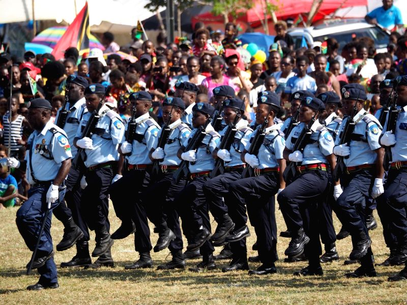 PORT VILA, July 30, 2018 - Police officers participate in the Independence day celebration in Port Vila, Vanuatu, July 30, 2018.