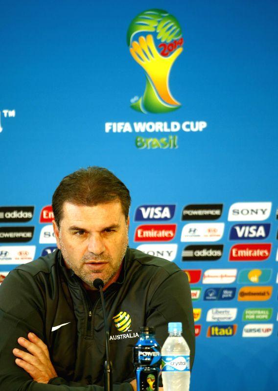 Austrlia's coach Ange Postecoglou attends a press conference in Porto Alegre, Brazil, on June 17, 2014.