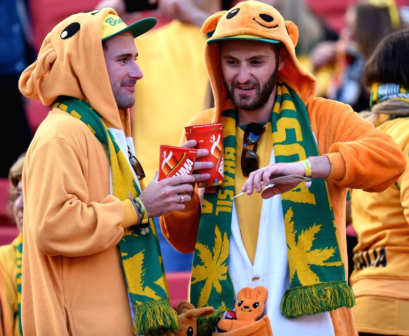 Australia's fans are seen before a Group B match between Australia and Netherlands of 2014 FIFA World Cup at the Estadio Beira-Rio Stadium in Porto Alegre, ...