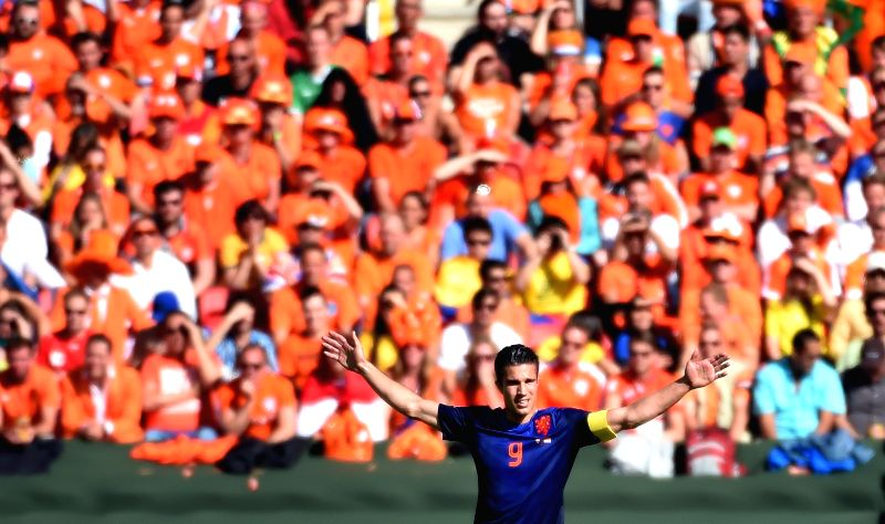 Netherlands' Robin van Persie reacts during a Group B match between Australia and Netherlands of 2014 FIFA World Cup at the Estadio Beira-Rio Stadium in Porto .