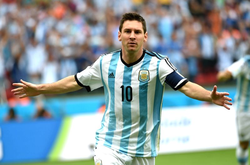 Argentina's Lionel Messi celebrates for scoring a goal during a Group F match between Nigeria and Argentina of 2014 FIFA World Cup at the Estadio Beira-Rio ...