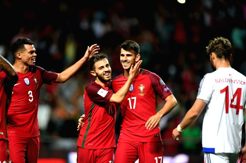 PORTO, Sept. 1, 2017 - Nelson Oliveira (2nd R) of Portugal celebrates after scoring with his teammates during the FIFA World Cup 2018 Qualifiers Group B match between Portugal and Faroe Islands at ...