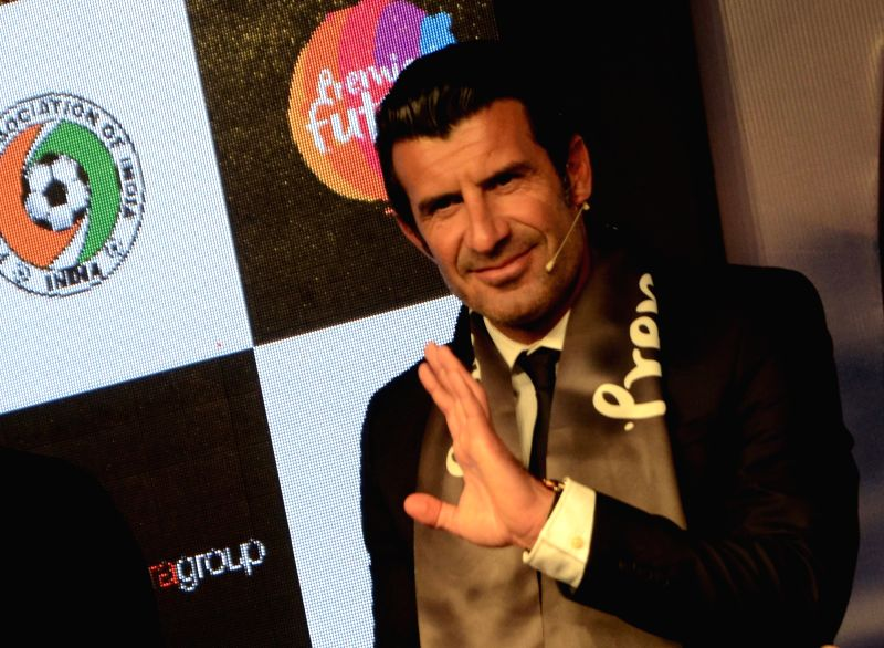 Portugal football legend Luis Figo at the launch of Premier Futsal - a five-a-side game on a much shorter field - in Mumbai, on April 5, 2016.