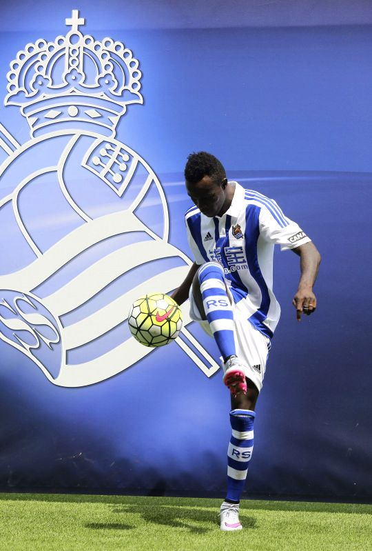 Portuguese striker Armindo Tue Na Bangna aka Bruma poses during his presentation as a player of Spanish Primera Division Liga's team Real Sociedad at the Zubieta stadium in San Sebastian, in ...