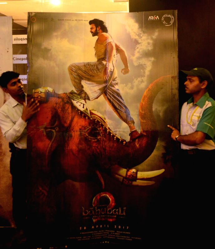 "Poster of ""Baahubali 2: The Conclusion"" at a Kolkata cinema hall on April 28, 2017."
