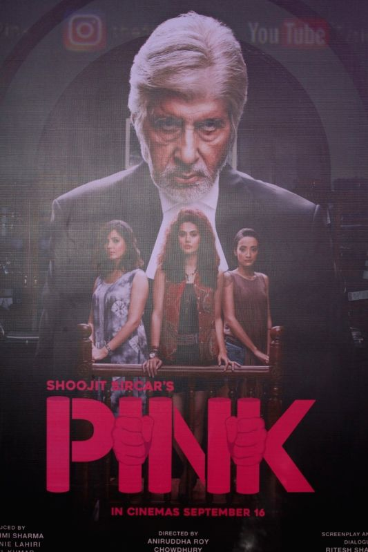 Mumbai: Poster of film Pink during the trailer launch of film Pink in Mumbai, on August 9, 2016.