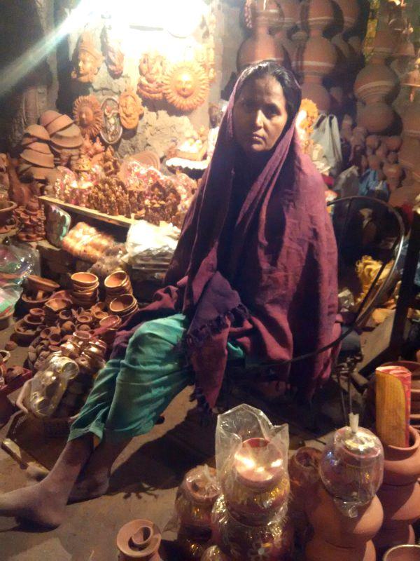 Potters in Kumhar Gram preparing for the festival of lights