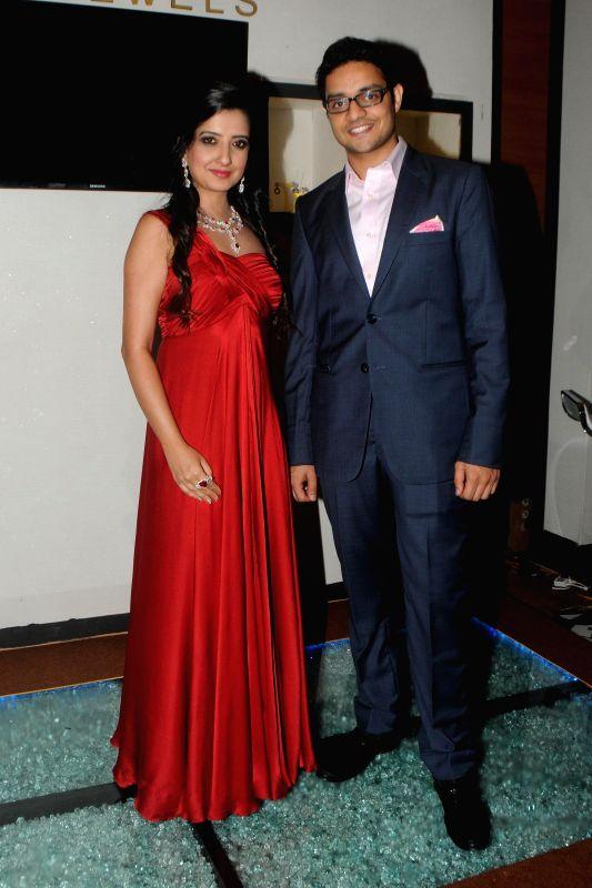 Pranay Saboo with Amy Billimoria during the India International Jewellery Week (IIJW) in Mumbai, on July 16, 2014.