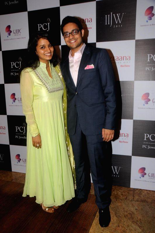 Pranay Saboo with Wife during the India International Jewellery Week (IIJW) in Mumbai, on July 16, 2014.