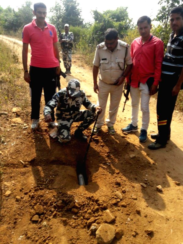 Pratap Pur: CRPF and police pesonnel recovered IED bombs during a search operation at Pratap Pur village of Chatra district, Jharkhand, on Nov 21, 2015.