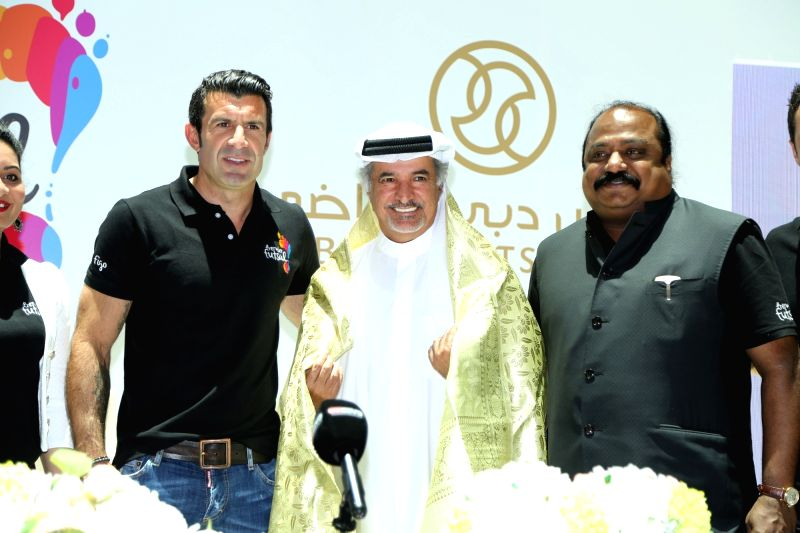 Premier Futsal President Luis Figo, Dubai Sports Council General Secretary H.E. Saeed Mohammad Harib and Premier Futsal Chairman and Co-Promoter Xavier Britto during a programme organised in ...