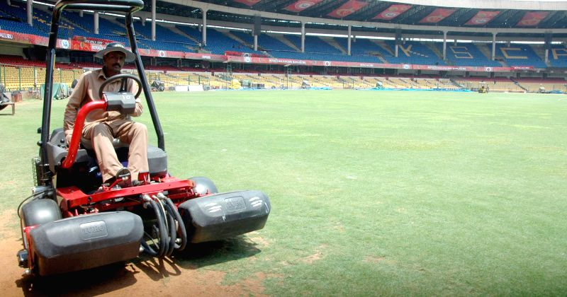 Preparation for the tomorrows IPL match between Royal Challengers Bangalore and Sunrisers Hyderabad at Chinnaswany Stadium, in Bangalore on May 3, 2014.