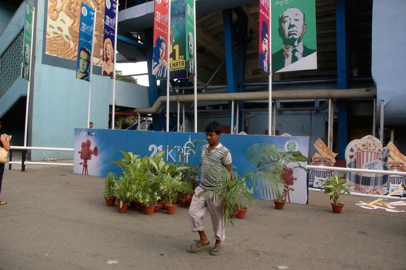 Preparations for 21st Kolkata International Film Festival underway at Netaji Indoor Stadium in Kolkata, on Nov 13, 2015.