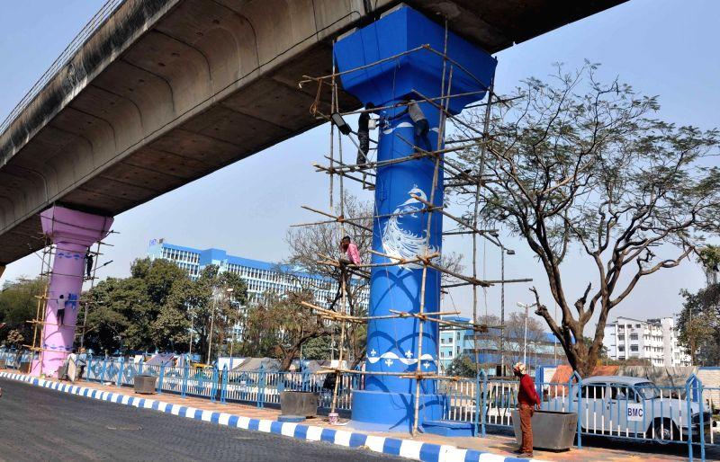 Preparations for 42nd International Kolkata Book Fair underway in Kolkata on Jan 29, 2018.