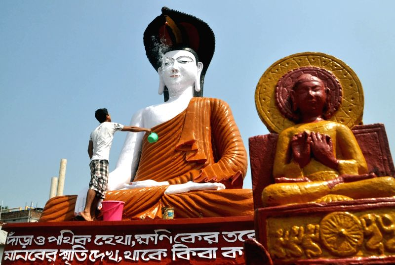 Preparations for Buddha Purnima underway in Agartala on May 4, 2017.