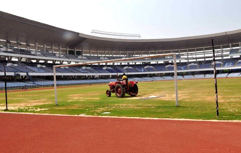 Preparations for FIFA U-17 World Cup underway at Yuva Bharati Krirangan in Kolkata on May 5, 2017.