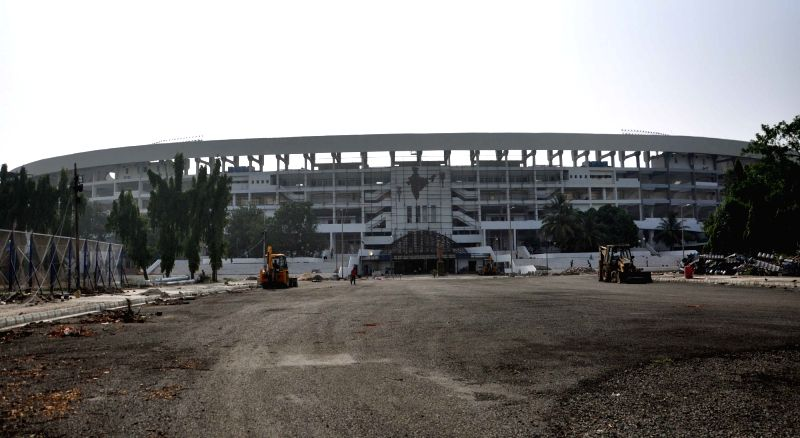 Preparations for FIFA U-17 World Cup underway at Salt Lake Stadium in Kolkata, on May 18, 2017.