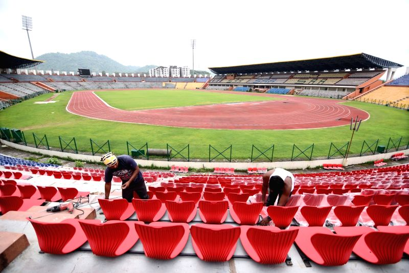 Preparations for FIFA U-17 World Cup underway at Indira Gandhi Athletic Stadium in Guwahati on May 23, 2017.