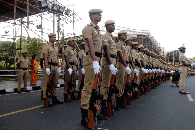 Preparations for Independence day parade underway in Chennai on Aug 11, 2016.