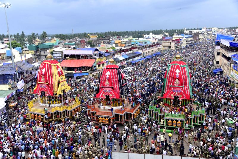 Preparations for Jagannath Rath Yatra under way on the eve of the festival in Puri on July 13, 2018.