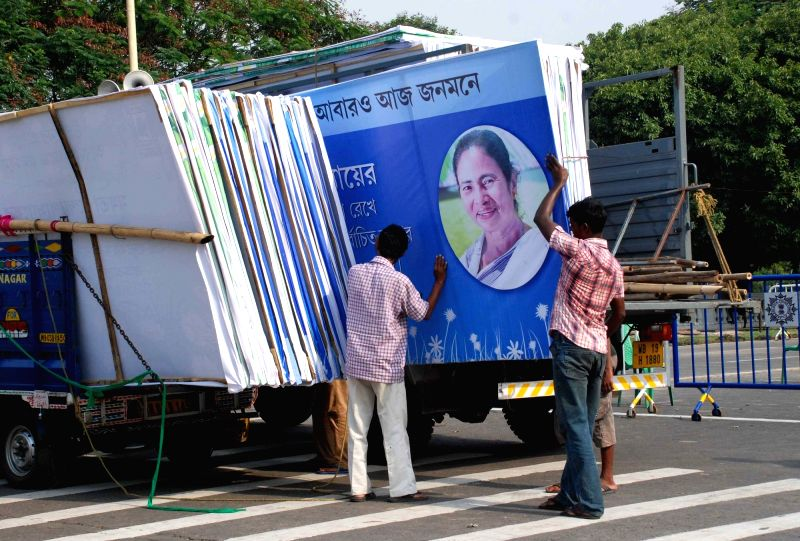 Preparations for swearing-in ceremony for Trinamool Congress supremo Mamata Banerjee as West Bengal Chief Minister underway on Red Road of Kolkata on May 26, 2016. - Mamata Banerjee