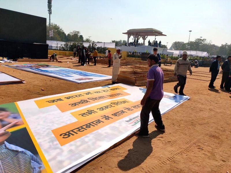 Preparations in full swing at Ramlila Maidan.