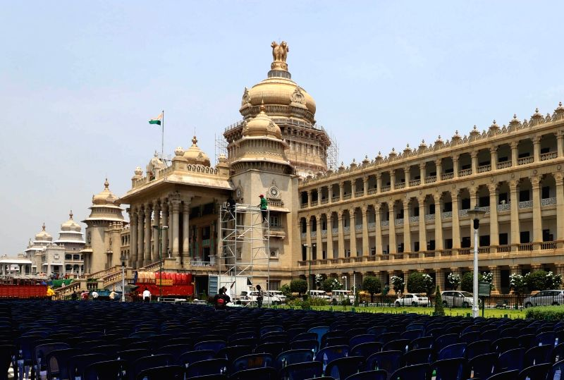 Preparations underway ahead of the the swearing in ceremony of Karnataka Chief Minister H.D. Kumaraswamy, at Vidhana Soudha in Bengaluru on May 22, 2018. - H.