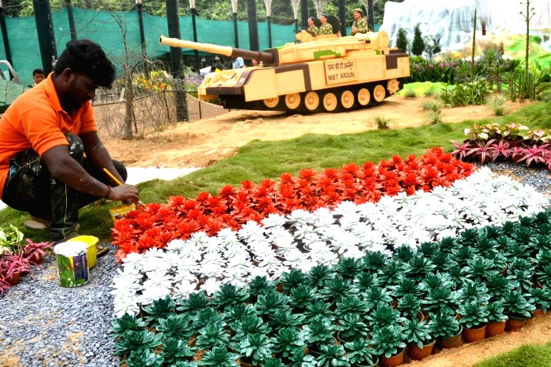 Preparations underway for annual Independence Day flower show, in Bengaluru on Aug 2, 2018.