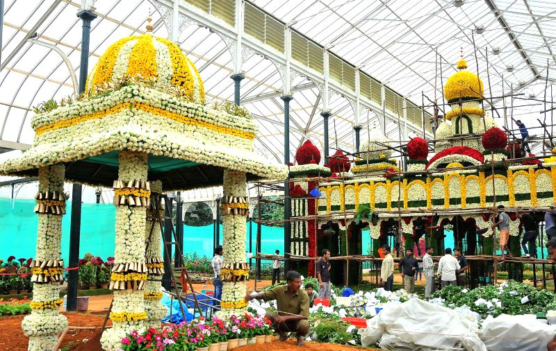 Preparations underway for upcoming Independence Day flower show at Lal Bagh in Bangalore on Aug 6, 2014.