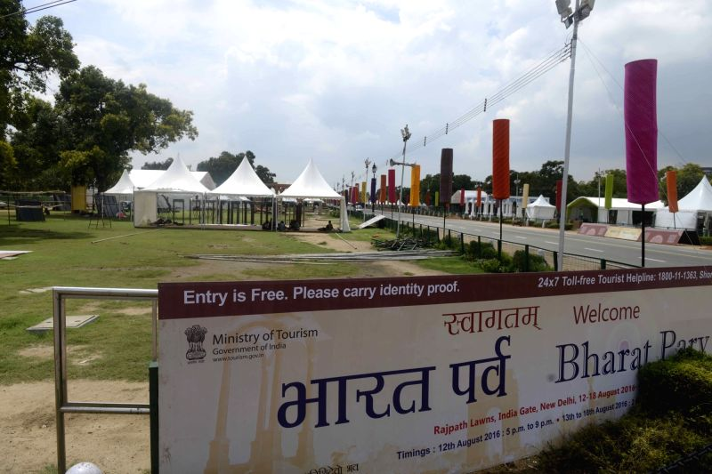 Preprations for 'Bharat Parv' underway at India Gate Lawns, in New Delhi on Aug 10, 2016.