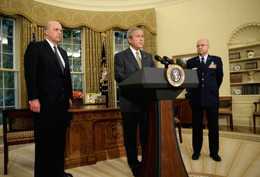 President George W. Bush announcing nomination of Gen. Michael Hayden (right) as CIA Director in 2006