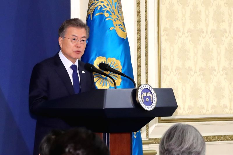 President Moon Jae-in speaks during a special meeting with top government officials to share his policy objectives and discuss ways to implement them at the presidential office on Jan. 30, ...
