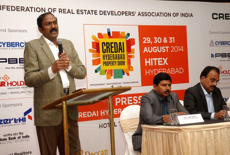 President of CREDAI C Shekar Reddy during a press conference in Hyderabad on Aug 21, 2014. - C Shekar Reddy
