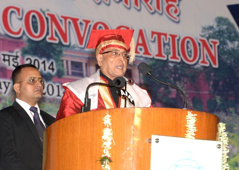 President of India Pranab Mukherjee during the annual convocation of the Indian School of Mines at Dhanbad in Jharkhand on May 10, 2014. - Pranab Mukherjee