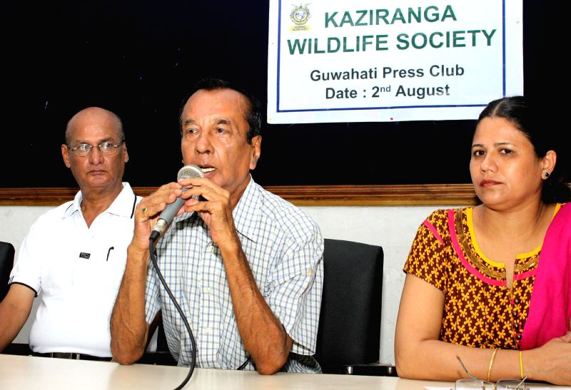 President of Kaziranga Wildlife Society Aboni Baruah addressing a press conference at Guwahati press club on August 02, 2014.