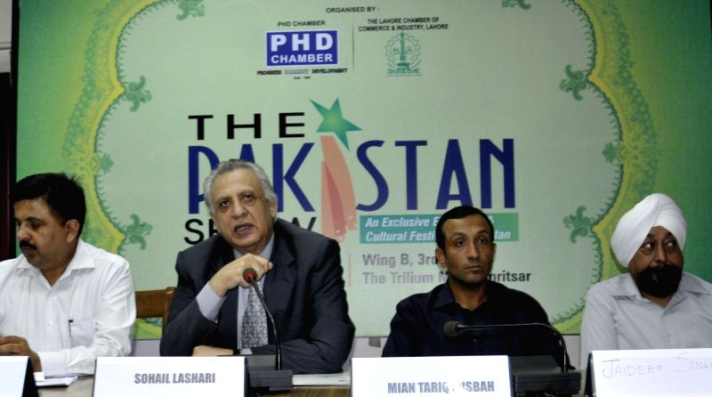 President of Lahore Chamber of Commerce and Industry (LCCI) Sohail Lashari during a press conference in Amritsar on May 6, 2014.